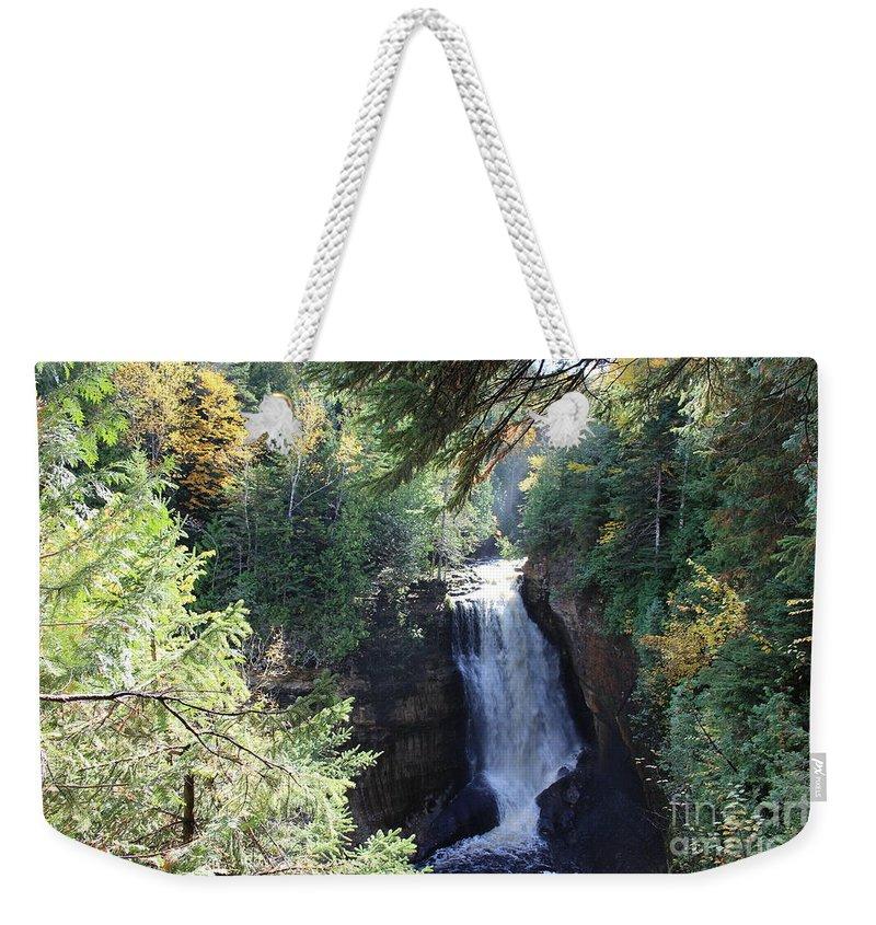 Water Weekender Tote Bag featuring the photograph Waterfall by Brenda Ackerman