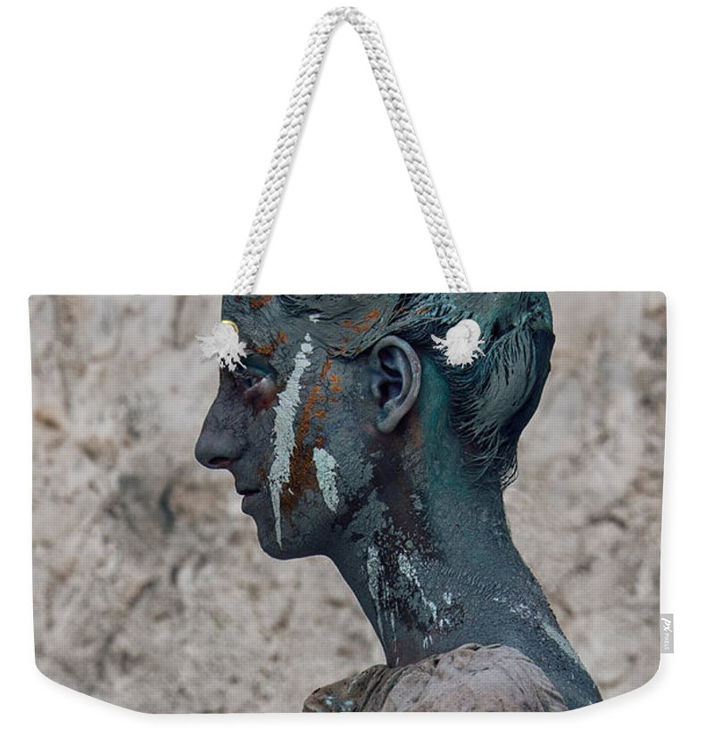 Antik Weekender Tote Bag featuring the photograph Woman In Bronze Statue Look With Patina Body Paint by Veronica Azaryan