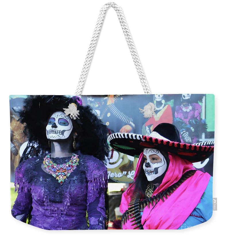 Dia De Los Muertos Weekender Tote Bag featuring the photograph 2 Women Day Of The Dead by Chuck Kuhn