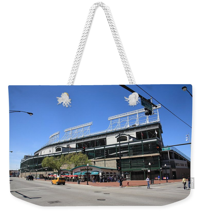 Addison Weekender Tote Bag featuring the photograph Wrigley Field - Chicago Cubs by Frank Romeo