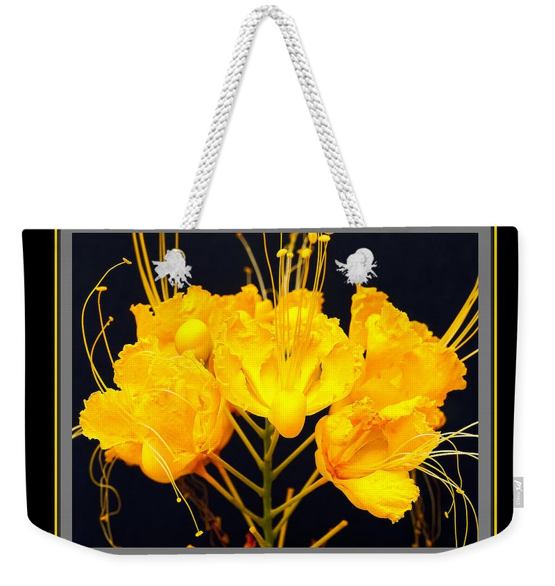 Flower Weekender Tote Bag featuring the photograph Yellow Flower by Larry White