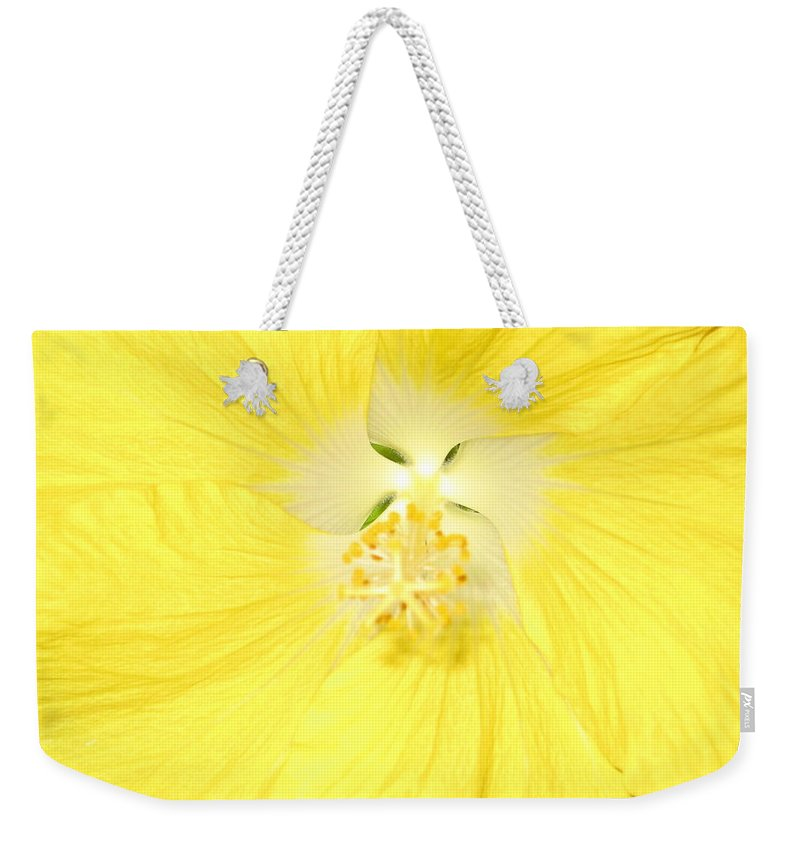 Flower Weekender Tote Bag featuring the photograph Yellow Hibiscus by Debbie Levene
