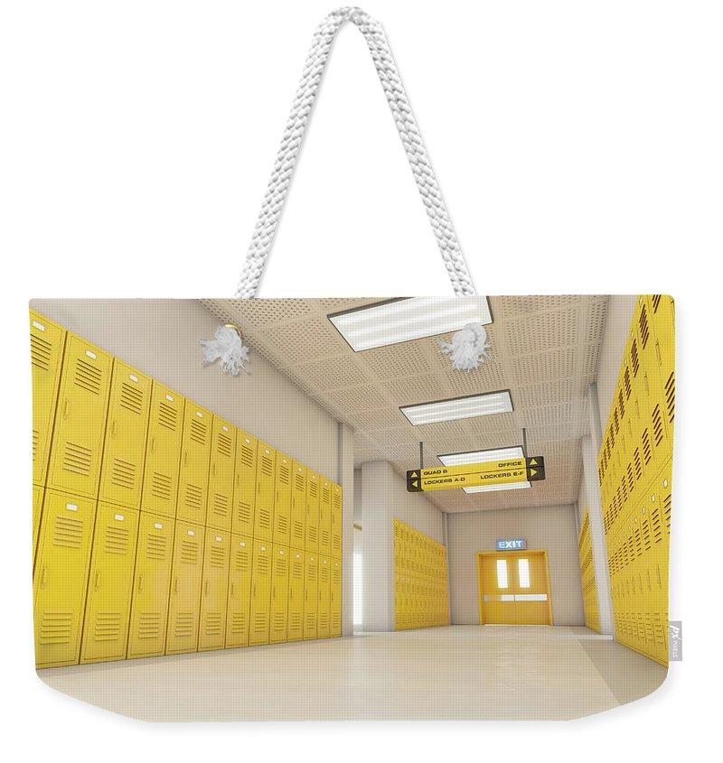 Locker Weekender Tote Bag featuring the digital art Yellow School Lockers Light by Allan Swart