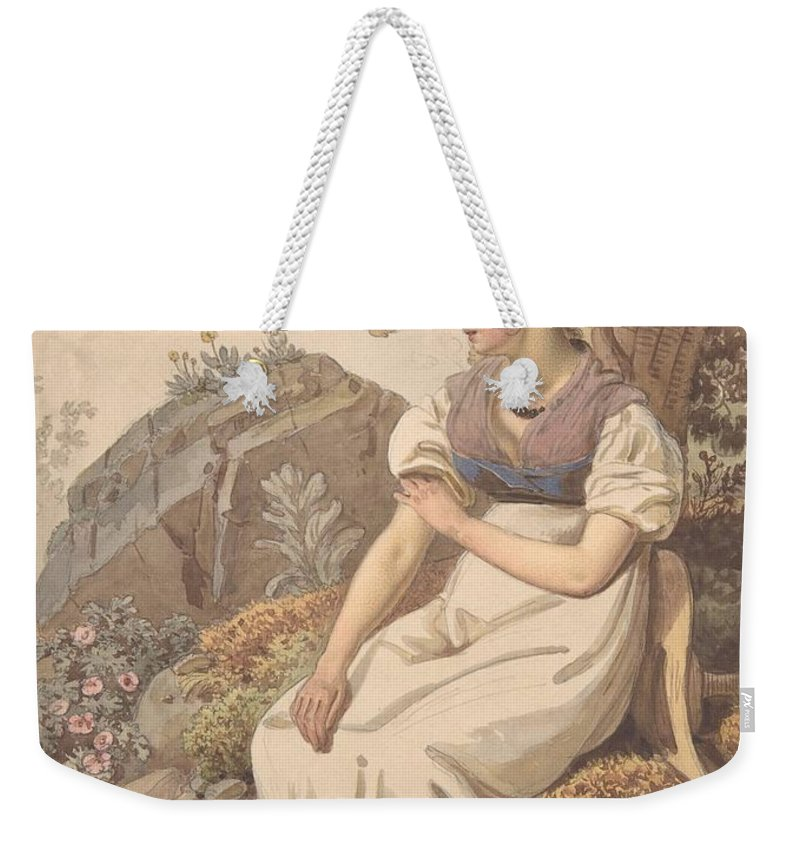 Wolfgang Adam T�pffer Weekender Tote Bag featuring the painting Young Woman by MotionAge Designs