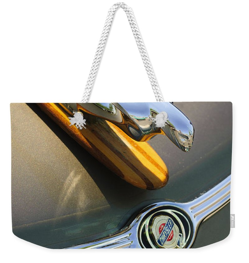 2004 Pt Cruiser Weekender Tote Bag featuring the photograph 2004 Pt Cruiser Non-standard Hood Ornament by Jill Reger