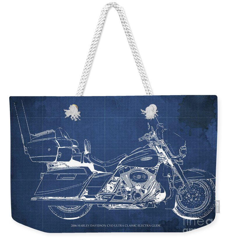 Harley Weekender Tote Bag featuring the digital art 2006 Harley Davidson Cvo Ultra Classic Electra Glide Blueprint Blue Background by Drawspots Illustrations