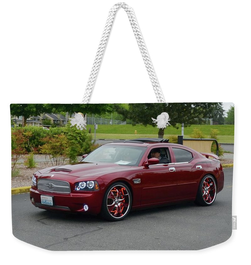 2007 Weekender Tote Bag featuring the photograph 2007 Dodge Charger Couture by Mobile Event Photo Car Show Photography