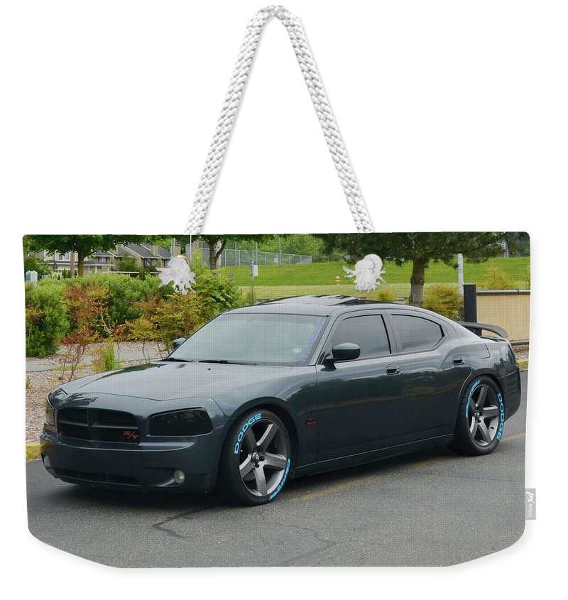 2007 Weekender Tote Bag featuring the photograph 2007 Dodge Charger Rt Lee by Mobile Event Photo Car Show Photography