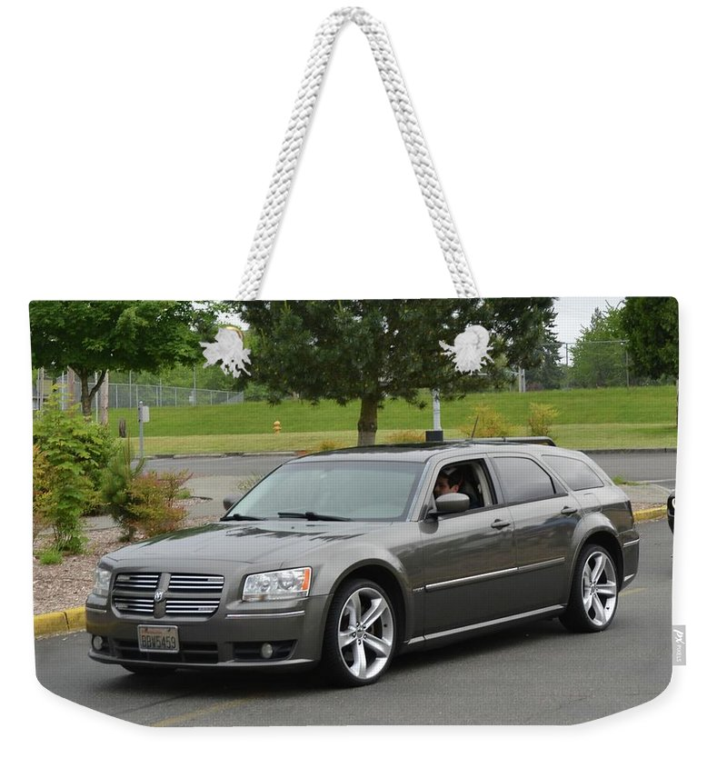 2008 Weekender Tote Bag featuring the photograph 2008 Dodge Magnum Lasswell by Mobile Event Photo Car Show Photography