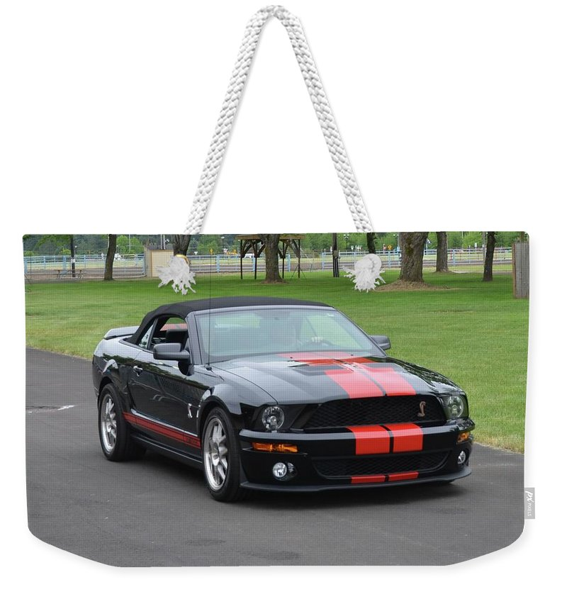 2008 Weekender Tote Bag featuring the photograph 2008 Ford Cobra Weary by Mobile Event Photo Car Show Photography