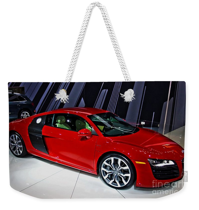 Automotive Weekender Tote Bag featuring the photograph 2009 Audi R8 Number 1 by Alan Look
