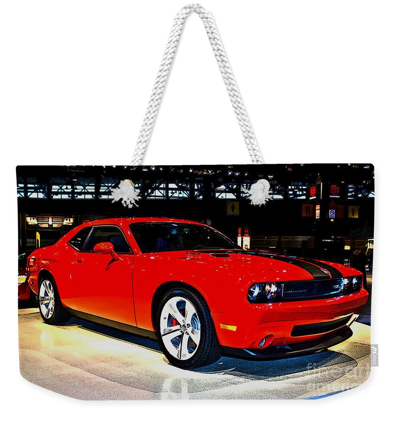 Automotive Weekender Tote Bag featuring the photograph 2009 Dodge Challenger Number 2 by Alan Look