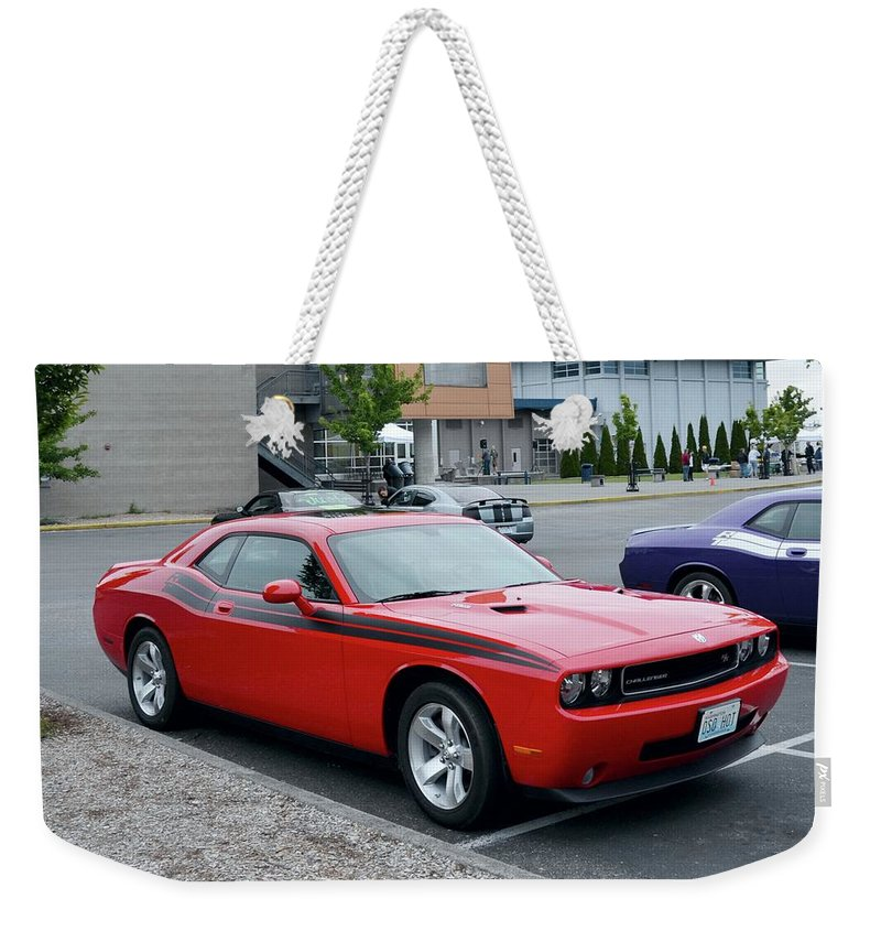 2009 Weekender Tote Bag featuring the photograph 2009 Dodge Challenger Rt Lyster by Mobile Event Photo Car Show Photography
