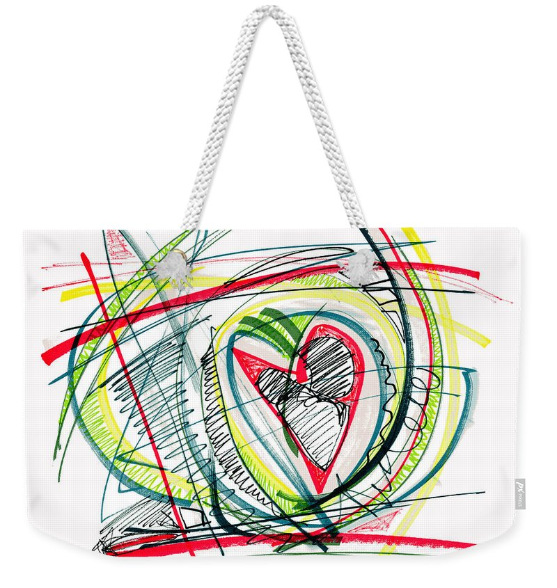 Abstract Art Weekender Tote Bag featuring the drawing 2010 Abstract Drawing Eighteen by Lynne Taetzsch