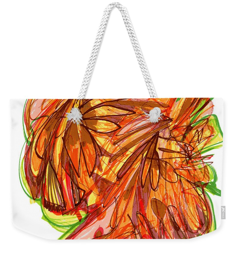 Abstract Art Weekender Tote Bag featuring the drawing 2010 Abstract Drawing Ten by Lynne Taetzsch