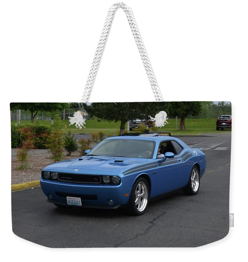2010 Weekender Tote Bag featuring the photograph 2010 Dodge Challenger Amilowski by Mobile Event Photo Car Show Photography