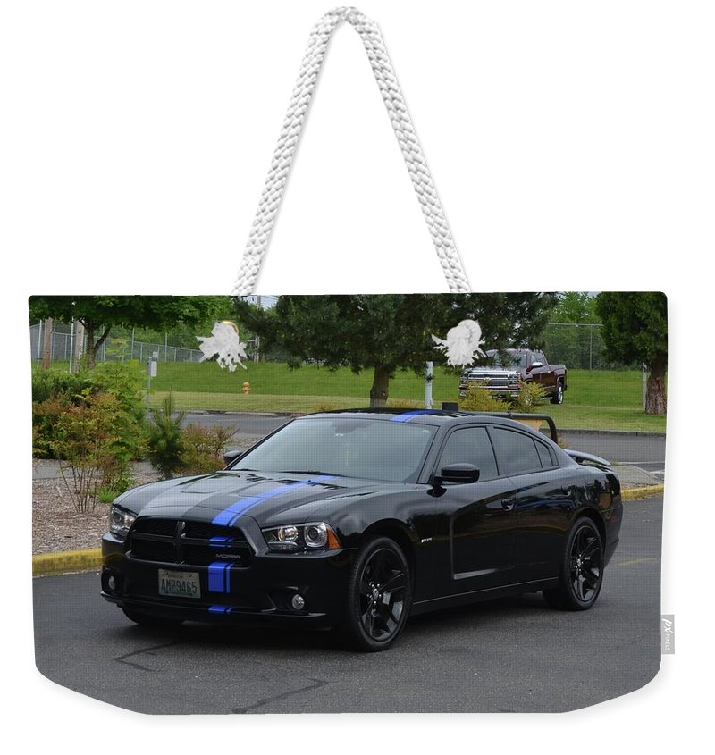 2011 Weekender Tote Bag featuring the photograph 2011 Dodge Charger Rt Lopez by Mobile Event Photo Car Show Photography