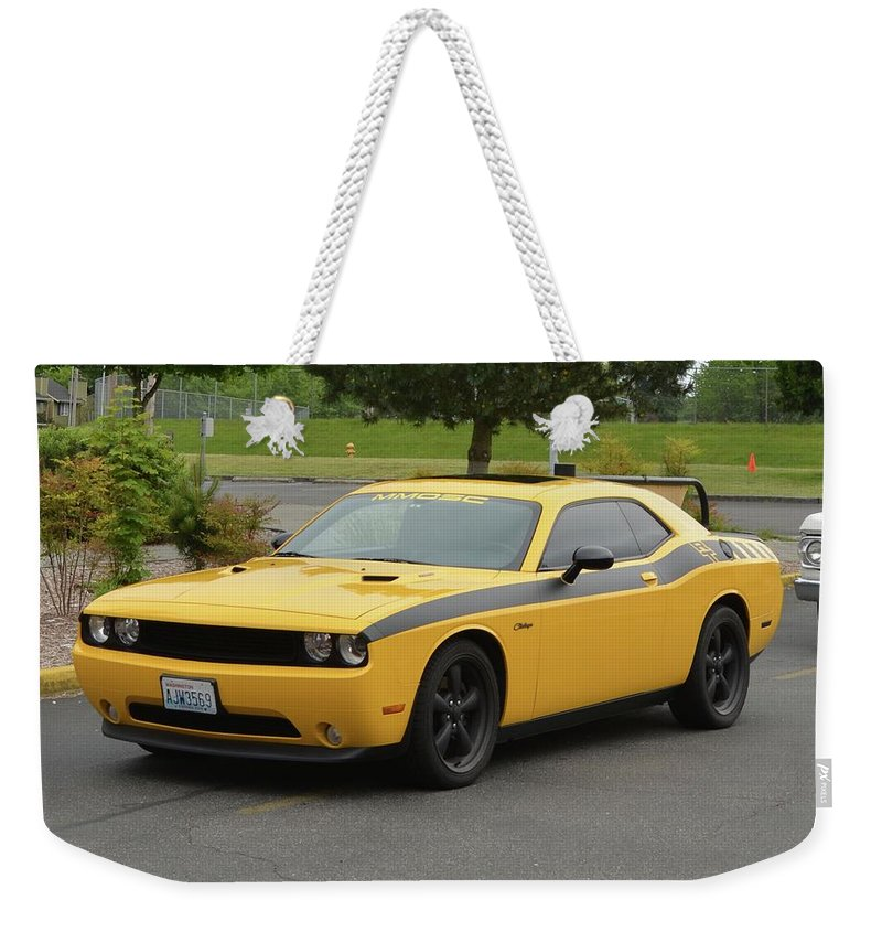 2012 Weekender Tote Bag featuring the photograph 2012 Dodge Challenger Rt Clark by Mobile Event Photo Car Show Photography