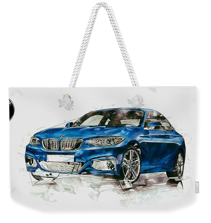 Wheels Of Fortune By Serge Averbukh Weekender Tote Bag featuring the photograph 2014 B M W 2 Series Coupe With 3d Badge by Serge Averbukh