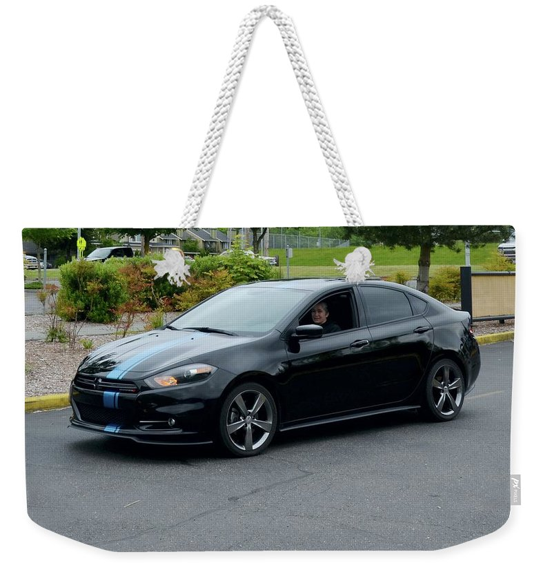 2014 Weekender Tote Bag featuring the photograph 2014 Dodge Dart Gt Jones by Mobile Event Photo Car Show Photography