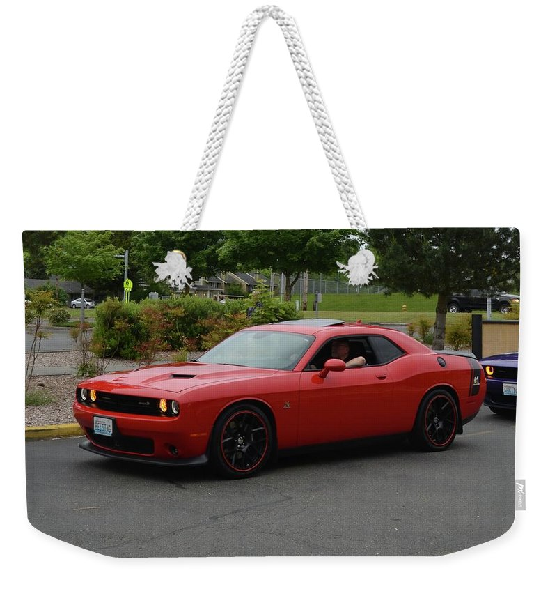 2015 Weekender Tote Bag featuring the photograph 2015 Dodge Challenger Scat Pack Harper by Mobile Event Photo Car Show Photography