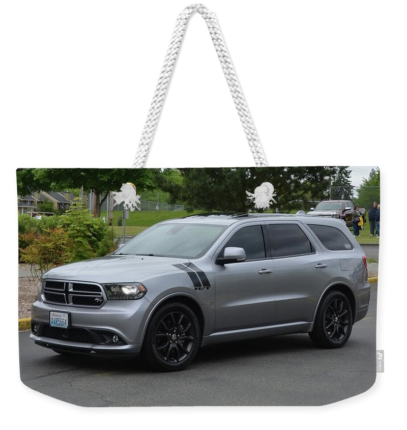 2015 Weekender Tote Bag featuring the photograph 2015 Dodge Durango Rt Webster by Mobile Event Photo Car Show Photography