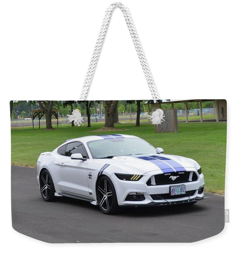 2015 Weekender Tote Bag featuring the photograph 2015 Ford Mustang Gt James Tami by Mobile Event Photo Car Show Photography