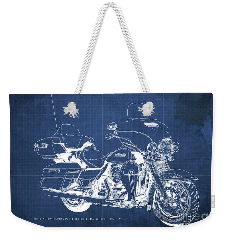 2015 Weekender Tote Bag featuring the painting 2015 Harley Davidson Flhtcu Electra Glide Ultra Classic Blueprint Blue Background by Drawspots Illustrations