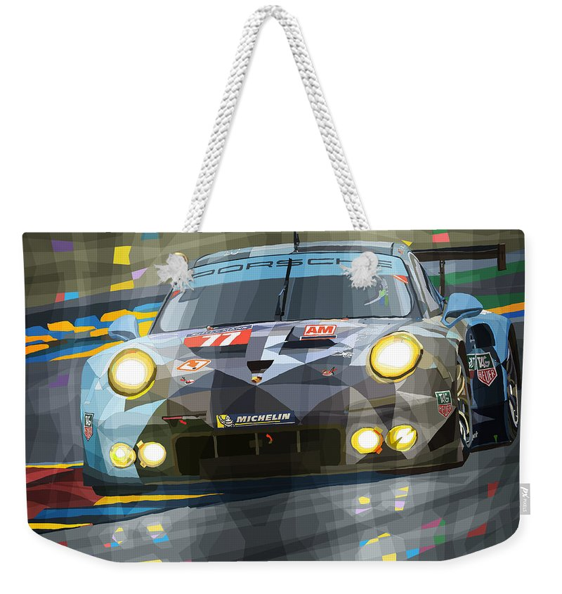 Automotive Weekender Tote Bag featuring the digital art 2015 Le Mans Gte-am Porsche 911 Rsr by Yuriy Shevchuk