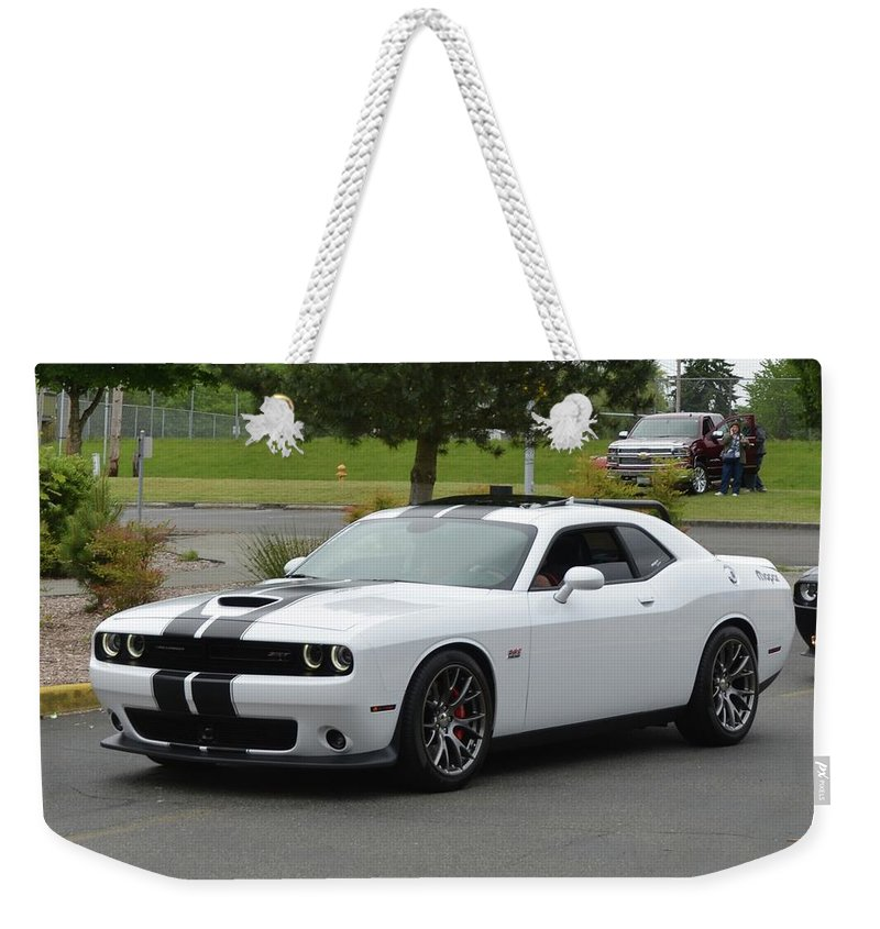 2016 Weekender Tote Bag featuring the photograph 2016 Challenger Srt8 Longo by Mobile Event Photo Car Show Photography