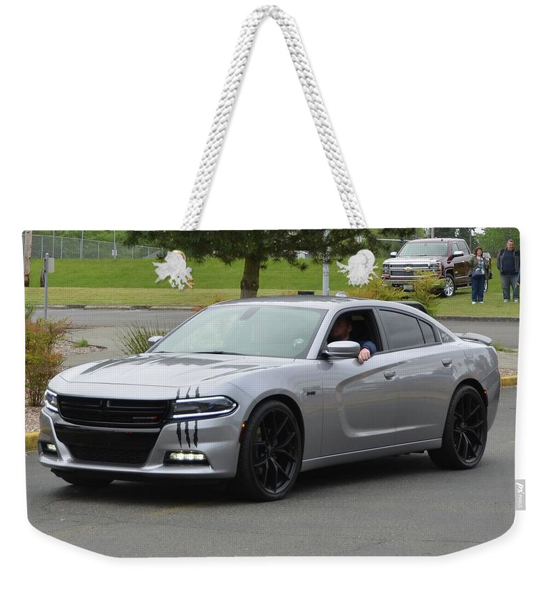 2016 Weekender Tote Bag featuring the photograph 2016 Charger Rt Rice by Mobile Event Photo Car Show Photography