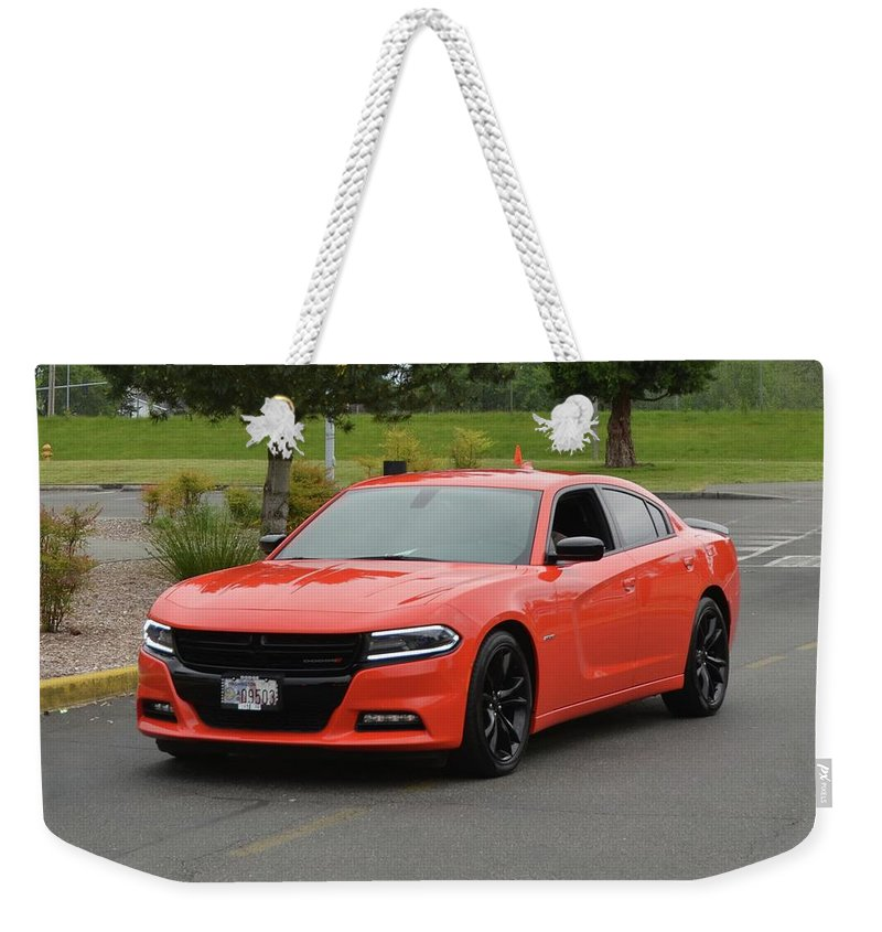 2016 Weekender Tote Bag featuring the photograph 2016 Dodge Charger Rt Ragen by Mobile Event Photo Car Show Photography