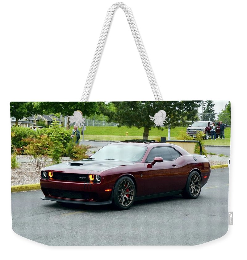 2017 Weekender Tote Bag featuring the photograph 2017 Dodge Srt Hellcat Morgana Webster by Mobile Event Photo Car Show Photography