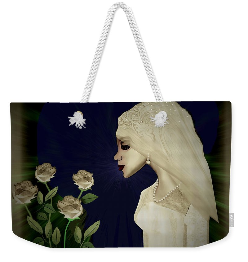 Lady Weekender Tote Bag featuring the painting 202 - Shy Bride 2017 by Irmgard Schoendorf Welch