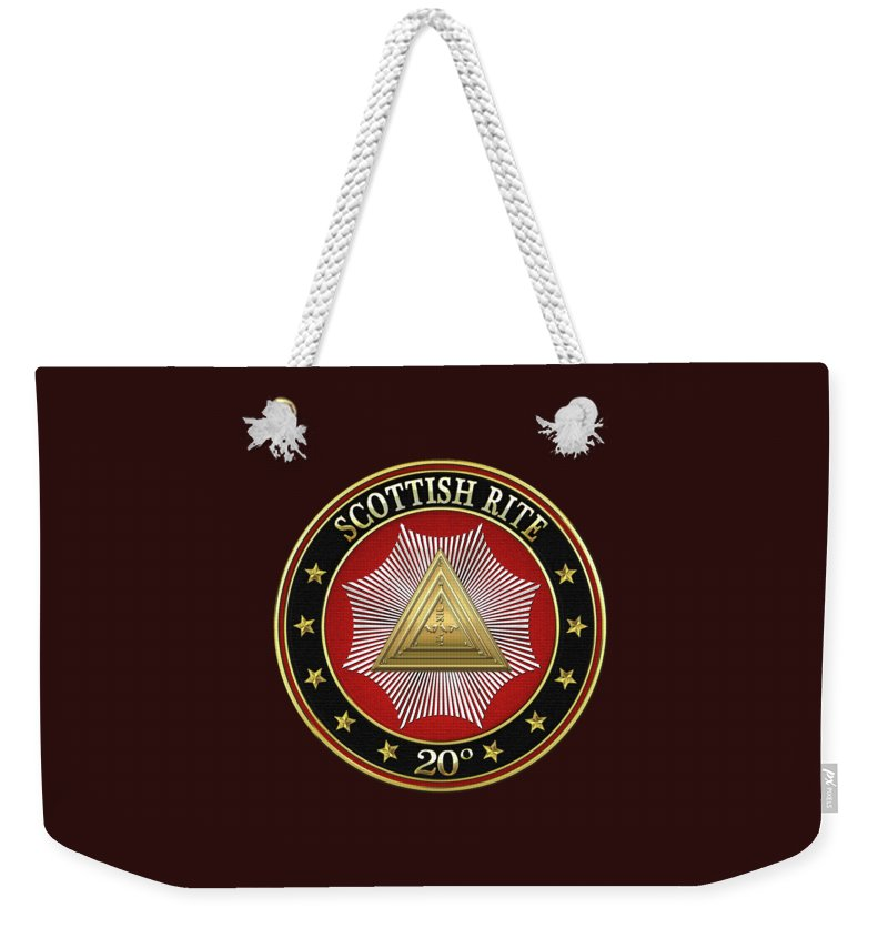'scottish Rite' Collection By Serge Averbukh Weekender Tote Bag featuring the digital art 20th Degree - Master Of The Symbolic Lodge Jewel On Black Leather by Serge Averbukh