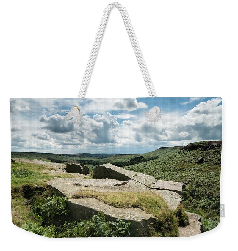 Landscape Weekender Tote Bag featuring the photograph Beautiful Vibrant Landscape Image Of Burbage Edge And Rocks In S by Matthew Gibson