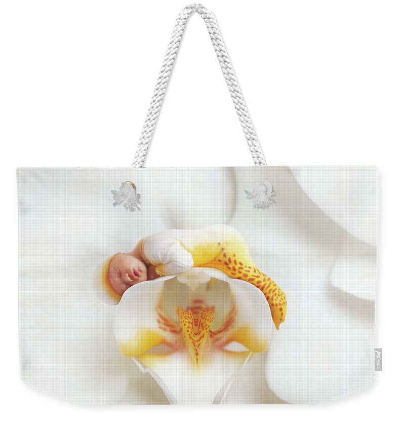Orchid Weekender Tote Bag featuring the photograph Mia In A Moth Orchid by Anne Geddes