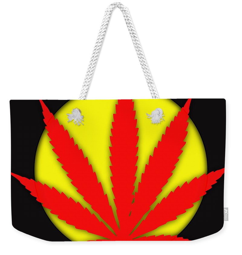 Cannabis Weekender Tote Bag featuring the mixed media Cannabis 420 Collection by Marvin Blaine