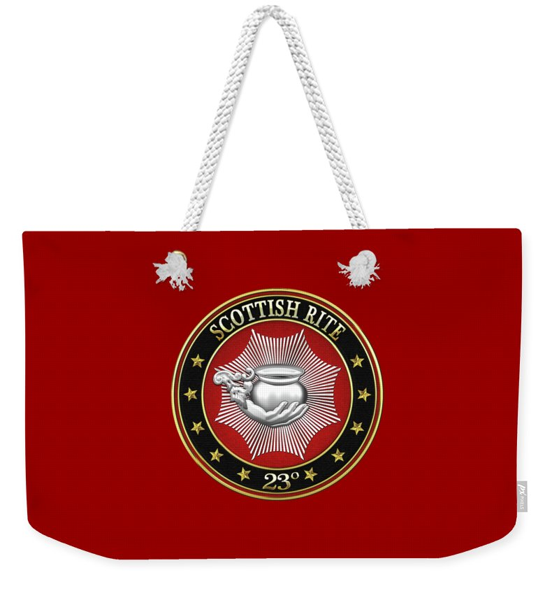 'scottish Rite' Collection By Serge Averbukh Weekender Tote Bag featuring the digital art 23rd Degree - Chief Of The Tabernacle Jewel On Red Leather by Serge Averbukh