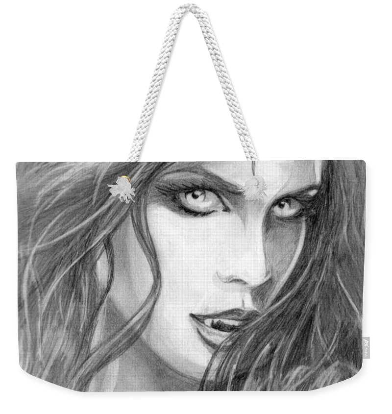 Vampiress Weekender Tote Bag featuring the drawing 24 by Kristopher VonKaufman