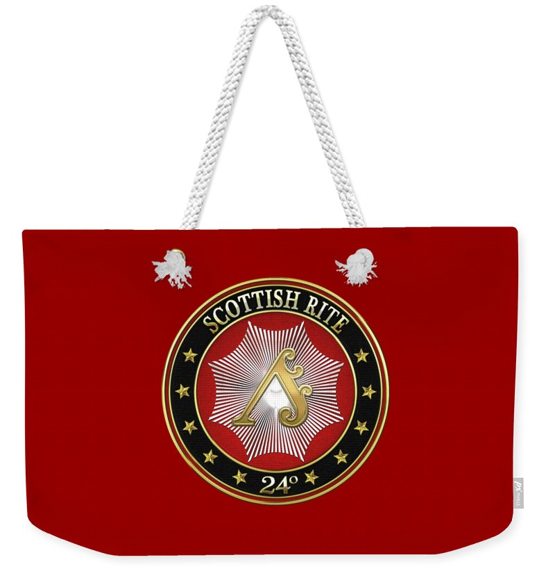 'scottish Rite' Collection By Serge Averbukh Weekender Tote Bag featuring the digital art 24th Degree - Prince Of The Tabernacle Jewel On Red Leather by Serge Averbukh