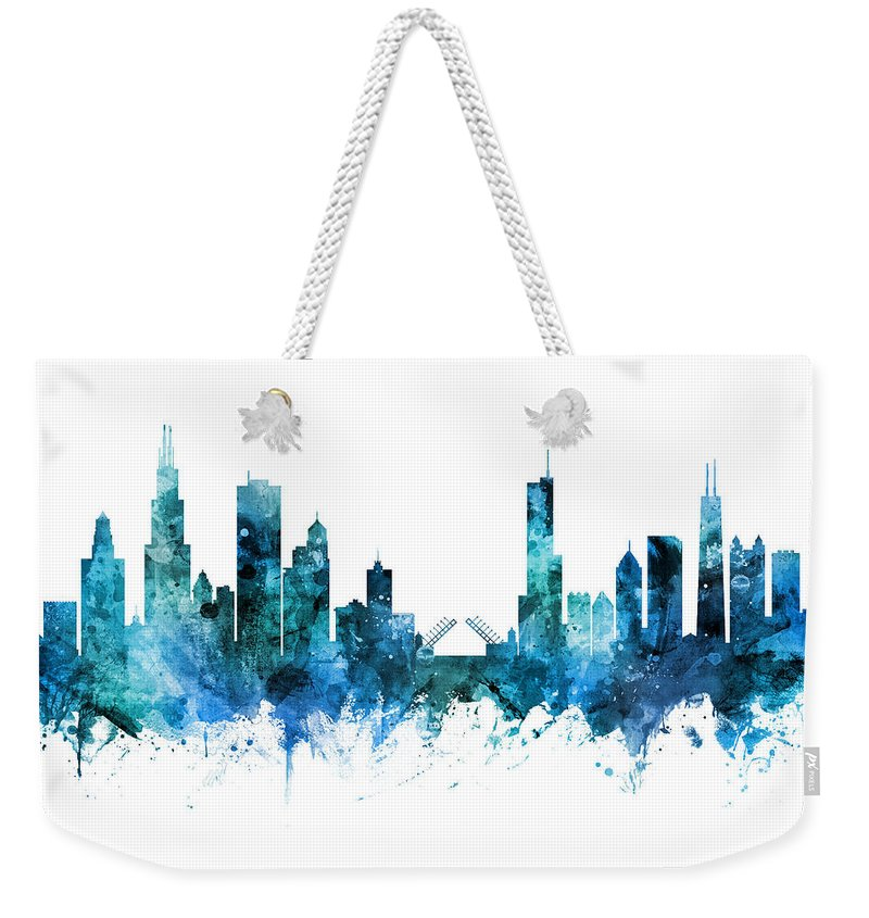 Chicago Weekender Tote Bag featuring the digital art Chicago Illinois Skyline 25 by Michael Tompsett