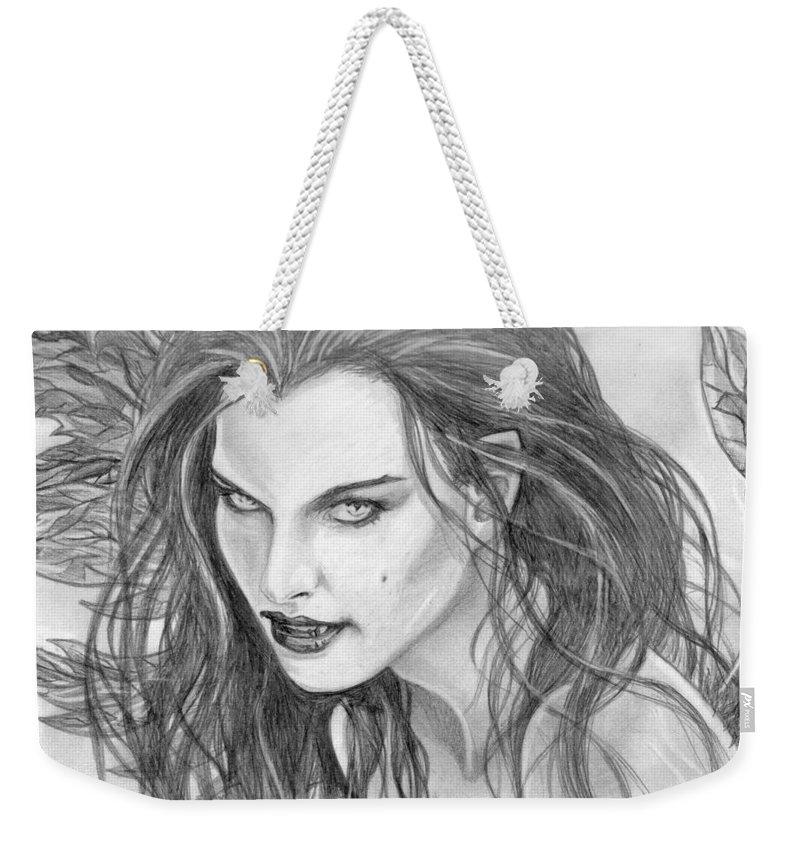 Vampiress Weekender Tote Bag featuring the drawing 25 by Kristopher VonKaufman
