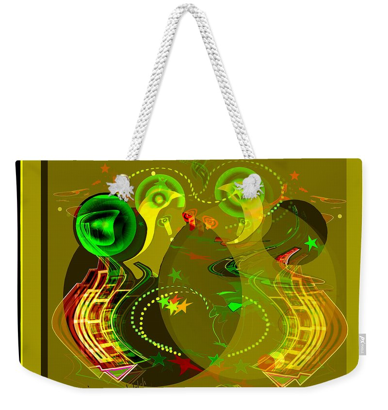2654 Golden Abstract 2018 Weekender Tote Bag featuring the digital art 2654 Golden Abstract 2018 by Irmgard Schoendorf Welch