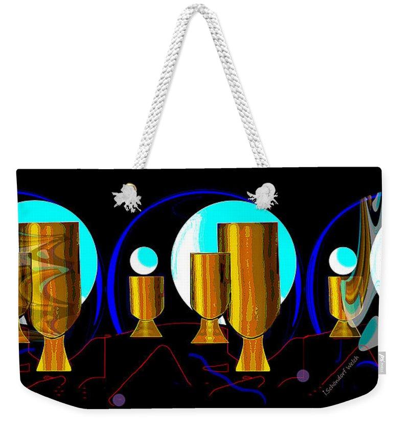 2664 Golden Goblets Patterns 2018 Weekender Tote Bag featuring the digital art 2664 Golden Goblets Patterns 2018 by Irmgard Schoendorf Welch