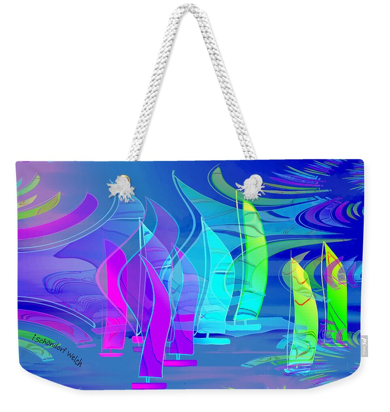 2685 Sailing Abstract Fantasy 2018 Weekender Tote Bag featuring the digital art 2685 Riding On The Storm Abstract Fantasy 2018 by Irmgard Schoendorf Welch