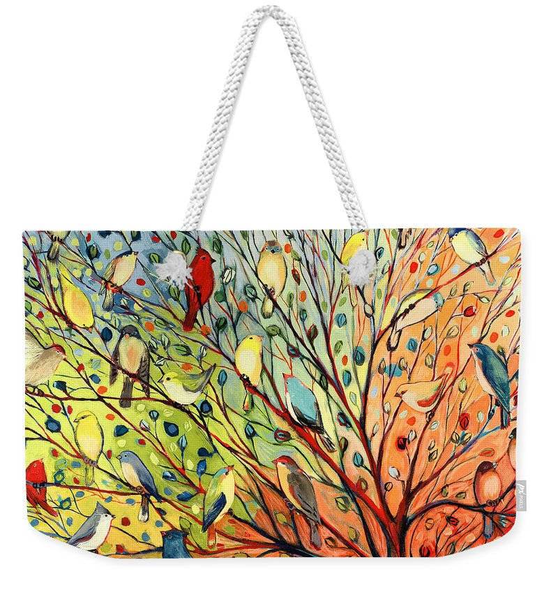 Bird Weekender Tote Bag featuring the painting 27 Birds by Jennifer Lommers