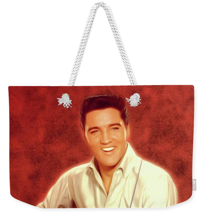 Music Weekender Tote Bag featuring the digital art Elvis Presley, Rock And Roll Legend 28 by Mary Bassett