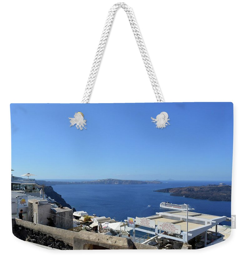 Santorini Weekender Tote Bag featuring the photograph 28 September 2016 White Houses By The Sea In Santorini, Greece by Oana Unciuleanu