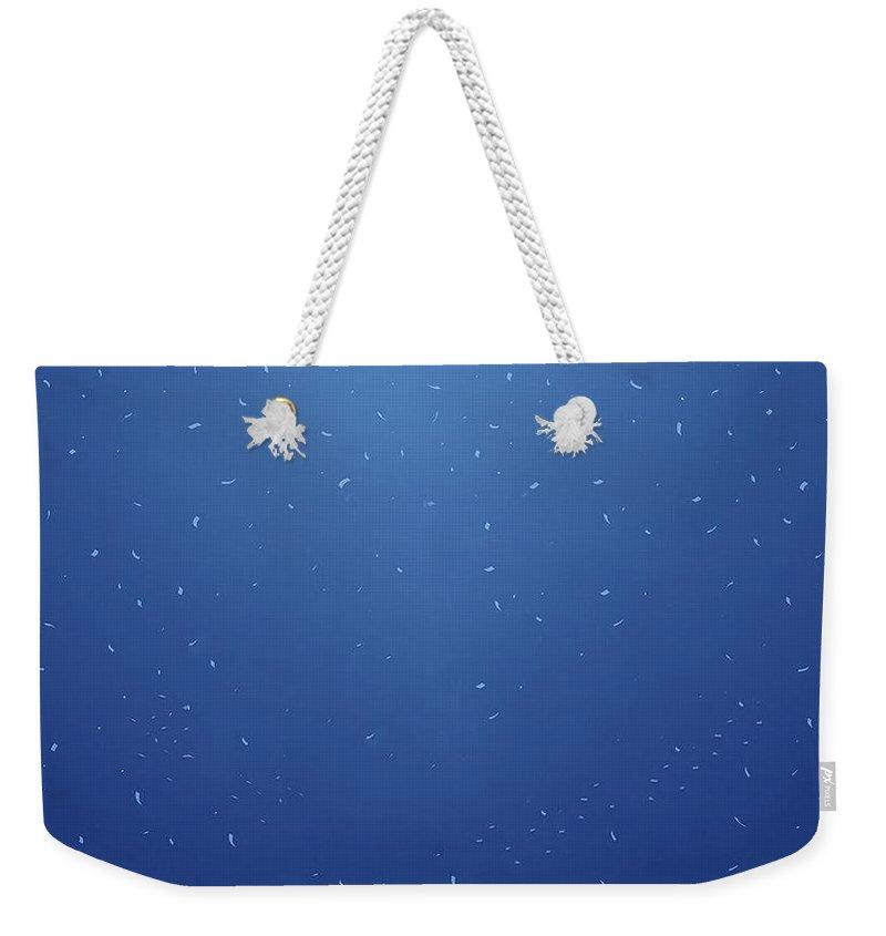Simple Blue Simple Blue Weekender Tote Bag featuring the digital art 28103 Simple Blue Simple Blue by Mery Moon